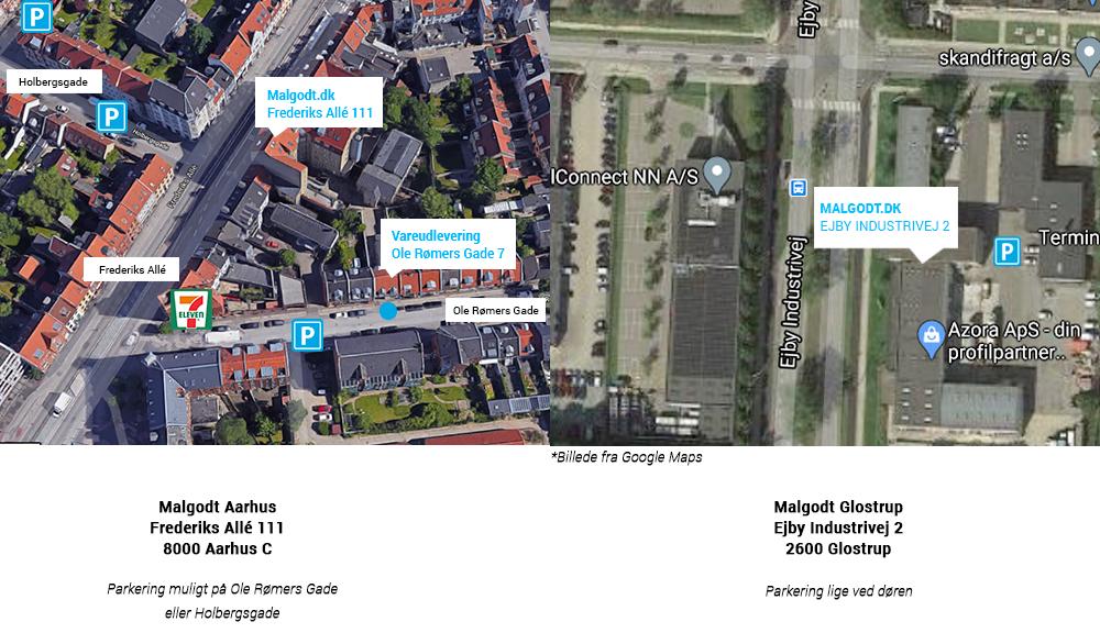 Se her hvor man parkererer hos Malgodt.dk på Frederiks Allé 111, i Aarhus C.