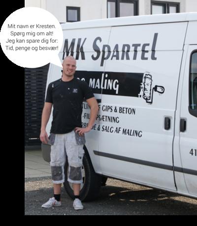 Her er Kresten med sin bil fra Malerfirmaet MK Spartel og Maling. Nu driver han sammen med Lars Nørdgaard også Malgodt.dk